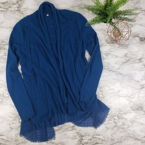 Knitted and knotted I Open Front Cardigan Blue